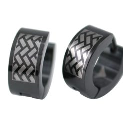 Stainless Steel 13x6mm Black Ipg Tyre Track Huggie Earrings