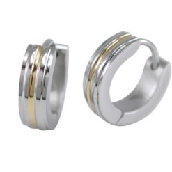 Stainless Steel 4mm Gold Ip Line Huggie Earrings