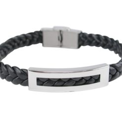 Stainless Steel 11mm Black Woven Polyurethane Bracelet  (adjustable)