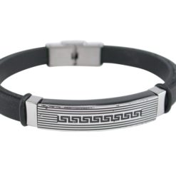 Stainless Steel 9mm Black Ip Greek Patterned Id With Black Silicon Strap Bracelet (adjustable) 21cm