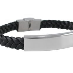 Stainless Steel 11mm Black Woven Polyurethane Id Bracelet  (adjustable)