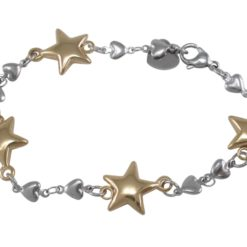 Stainless Steel & Gold Ip 13mm Stars & Hearts Bracelet 20cm
