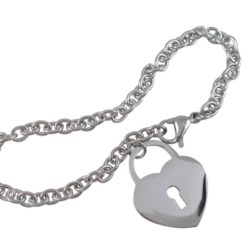 Stainless Steel 20mm Heart On Oval Link  Bracelet 17-20cm