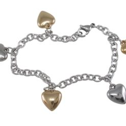 Stainless Steel & Gold Ip 11mm Hearts Charm Bracelet 17-19cm