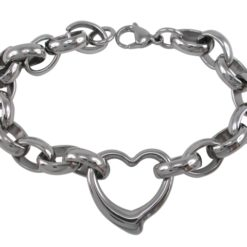 Stainless Steel 25mm Heart On Chunky Belcher Bracelet 21cm