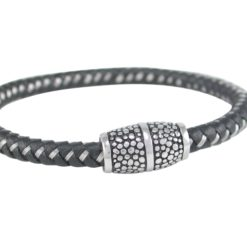 Stainless Steel 6mm Black Leather & Steel Weave Bracelet