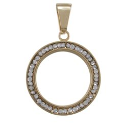 Stainless Steel Gold Ipg 5x25mm White Crystal Pendant