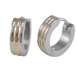 Stainless Steel 4x13mm Gold Ip Centre Huggie Earrings