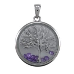 Stainless Steel 22mm Purple Cubic Zirconia Tree Of Life Pendant