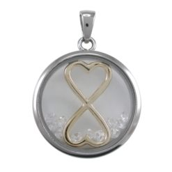 Stainless Steel 22mm White Cubic Zirconia Infinity Hearts Pendant