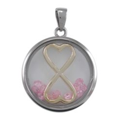 Stainless Steel 22mm Pink Cubic Zirconia Infinity Hearts Pendant