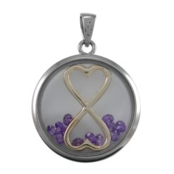 Stainless Steel 22mm Purple Cubic Zirconia Infinity Hearts Pendant