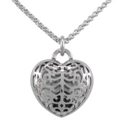 Stainless Steel 30mm Filigree Heart With Faceted Onyx Bead Necklet 80cm