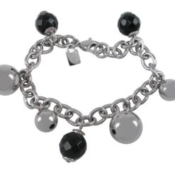 Stainless Steel 10mm &14mm Balls With 12mm Faceted Black Onyx Balls Bracelet 19cm