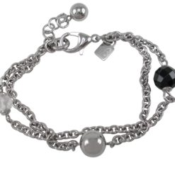 Stainless Steel 8mm &10mm Balls With 10mm Faceted Black Onyx Ball & 8mm Faceted Crystal Double Linked Bracelet 20-23cm