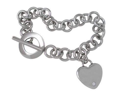 Stainless Steel 20mm Heart With White Cubic Zirconia Fob Bracelet 20cm