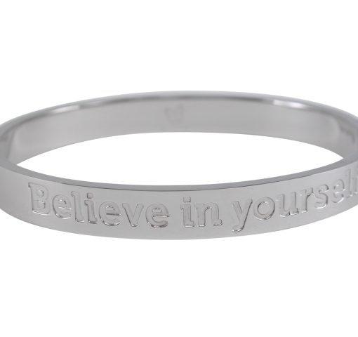 Stainless Steel 8mm Hinged Affirmation Bangle *believe In Yourself* 62x55mm