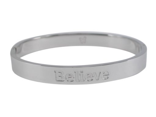 Stainless Steel 8mm Hinged Affirmation Bangle *believe* 62x55mm