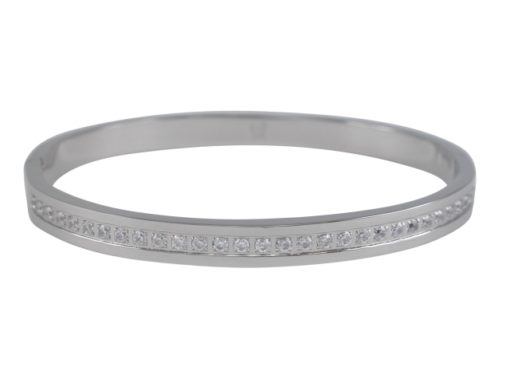 Stainless Steel 6mm White Cubic Zirconia Hinged Cuff Bangle 62x55mm