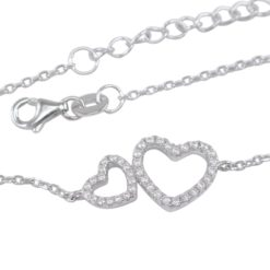 Sterling Silver 20x10mm White Cubic Zirconia Two Hearts (mother & Daughter Or Sisters)  Bracelet 16-19cm