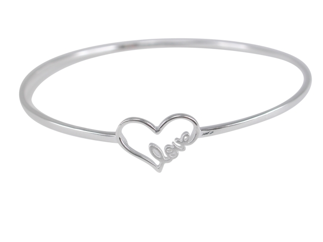 Sterling Silver 14x10mm Heart With *love*  Bangle 62mm