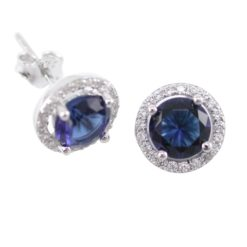 Sterling Silver 9mm Blue Cubic Zirconia Cluster Stud Earrings