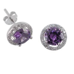 Sterling Silver 9mm Purple Cubic Zirconia Cluster Stud Earrings