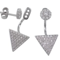 Sterling Silver 6mm Cluster & 11mm Dangling Triangle White Cubic Zirconia Stud Earrings