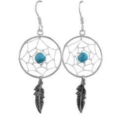 Sterling Silver 38x20mm Blue Turquoise Double Feather Dream Catcher Drop Earrings