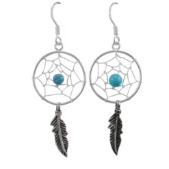 Sterling Silver 40x18mm Blue Turquoise Single Feather Dream Catcher Drop Earrings