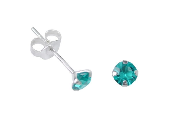 Sterling Silver 4mm Blue/green Cubic Zirconia Stud Earrings