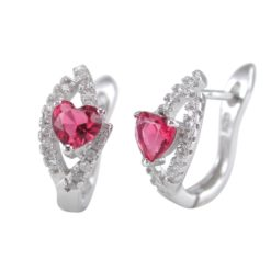 Sterling Silver 14x8mm Red Cubic Zirconia Heart Stud & Clip Earrings