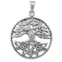 Sterling Silver 29mm Round Tree Of Life Celtic Pendant