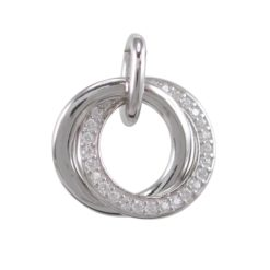 Sterling Silver 15mm White Cubic Zirconia Interlocking Circles *eternity Together* Pendant