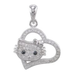 Sterling Silver 19x17mm White Cubic Zirconia Heart *love My Cat* Pendant