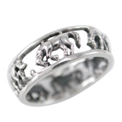 Sterling Silver 6mm Oxidised Horse Ring