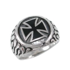 Sterling Silver 17mm Black Enamel Iron Cross & Flames Ring