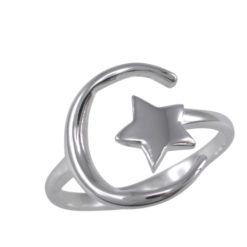 Sterling Silver 14mm Moon & Star Open Ring