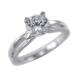Sterling Silver 5mm White Cubic Zirconia Solitaire Ring