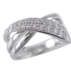 Sterling Silver 11mm White Cubic Zirconia Crossover Ring