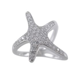 Sterling Silver 20mm White Cubic Zirconia Starfish Ring