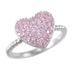 Sterling Silver 11mm Pink Cubic Zirconia Heart Ring