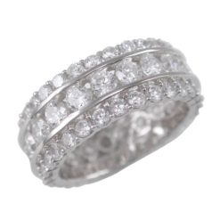 Sterling Silver 8mm White Cubic Zirconia All Around Ring