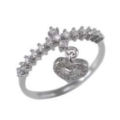 Sterling Silver 8mm White Cubic Zirconia Dangling Heart Ring