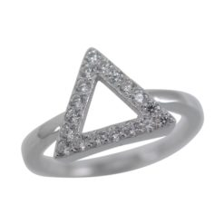 Sterling Silver 10mm Micro Set White Cubic Zirconia Triangle Ring