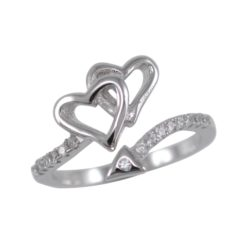 Sterling Silver 12mm Micro Set White Cubic Zirconia Crossover Heart Ring