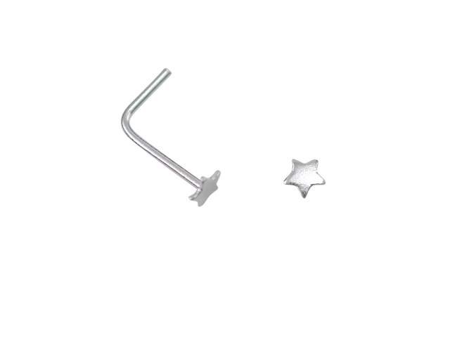 Sterling Silver L Shaped Star Nose Stud
