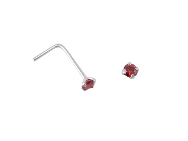 Sterling Silver L Shaped Prong Set Red Cubic Zirconia Nose Stud (january)