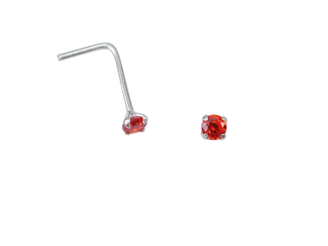Sterling Silver L Shaped Prong Set Orange Cubic Zirconia Nose Stud (july)