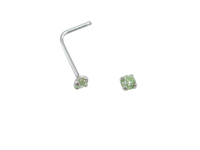 Sterling Silver L Shaped Prong Set Lime Cubic Zirconia Nose Stud (august)